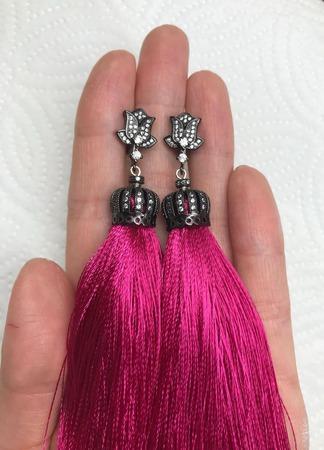 Серьги-кисти «Черная малина» ручной работы на заказ
