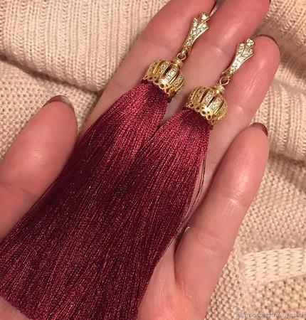 Серьги-кисти «Торжественное Бордо» ручной работы на заказ