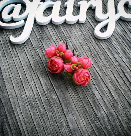 Серьги с розовыми пионами ручной работы на заказ