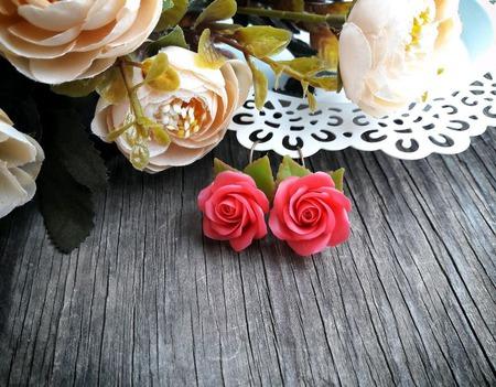 """Серьги """"Розовые розы"""" ручной работы на заказ"""