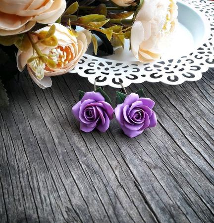"""Серьги """"Сиреневые розы"""" ручной работы на заказ"""