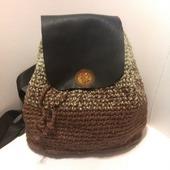 Рюкзак из конопли и кожи