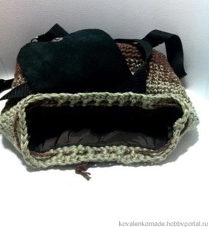 Рюкзак из конопли и кожи ручной работы на заказ