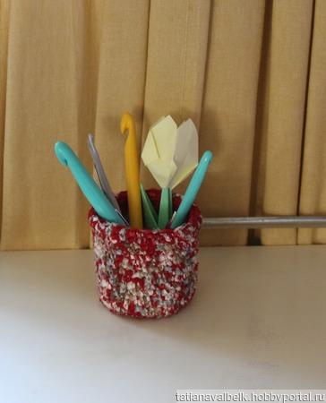 Интерьерная корзинка вязаная чехол для ватных палочек ручной работы на заказ