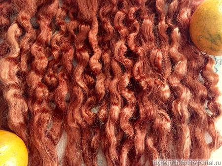 Окрашенные волосы для кукол: Тициан (кудри/локоны) ручной работы на заказ