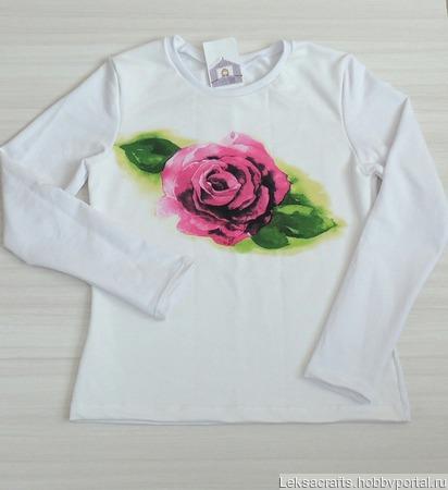 Свитшот нежная роза ручной работы на заказ