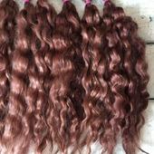 Окрашенные волосы для кукол: Каштан (локоны/кудри/шерсть)