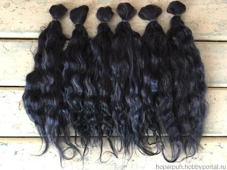 Окрашенные волосы для кукол: Иссиня-чёрный (кудри/локоны) ручной работы на заказ