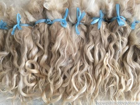 Волосы для кукол белые немытые, коза (пряди/кудри/локоны) ручной работы на заказ