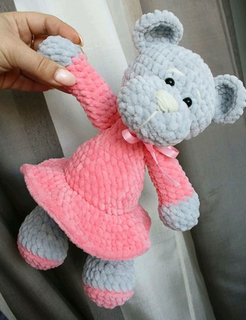 Плюшевая Мишка малышка в платье ручной работы на заказ