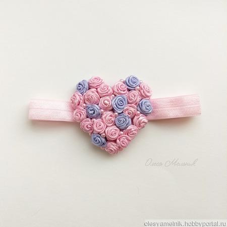 Повязка-резинка «Сердце» ручной работы на заказ