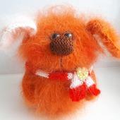 Вязаная игрушка Собачка Рыжик