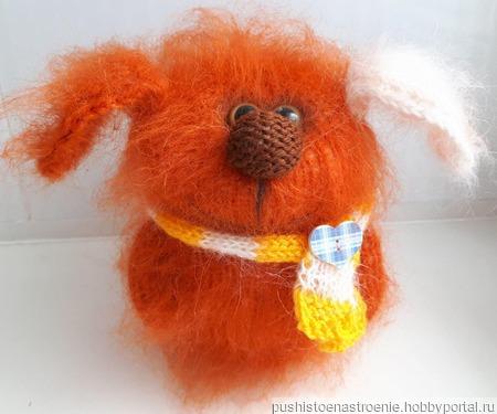 Вязаная игрушка Собачка Рыжик ручной работы на заказ
