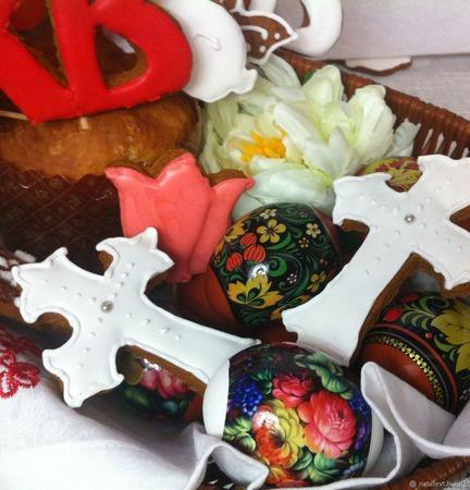 Подарок-набор Корзина Пасхальная овальная Кулич Пряники ручной работы на заказ