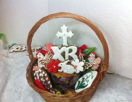 Подарок-набор Корзина Пасхальная круглая Кулич пряники ручной работы на заказ