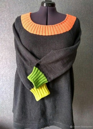 Пуловер спицами ручной работы на заказ