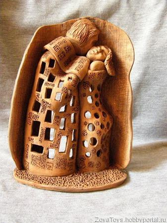 """Подсвечник """"Поцелуй"""" керамический ручной работы на заказ"""