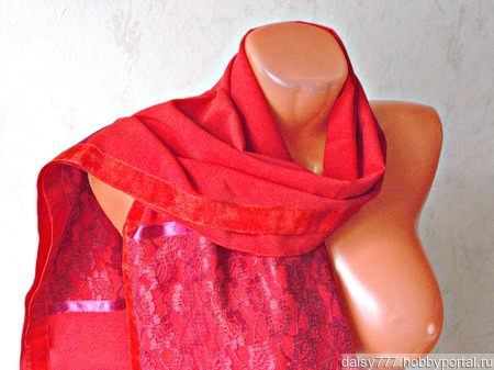 """Красный палантин ручной работы из ткани """"Алая заря"""" модель 3 ручной работы на заказ"""