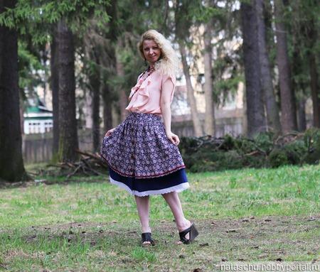 Хлопковая юбка миди на лето ручной работы на заказ