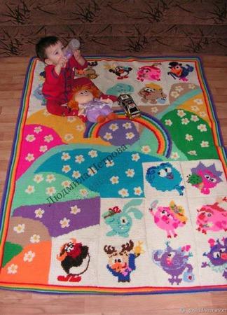 Вязаный развивающий коврик в детскую ручной работы на заказ