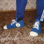 """Вязаные носки-кеды """"Любимым мужчинам"""""""