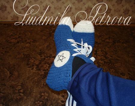 """Вязаные носки-кеды """"Любимым мужчинам"""" ручной работы на заказ"""