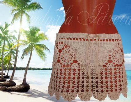 Пляжная юбка вязаная длинная ручной работы на заказ