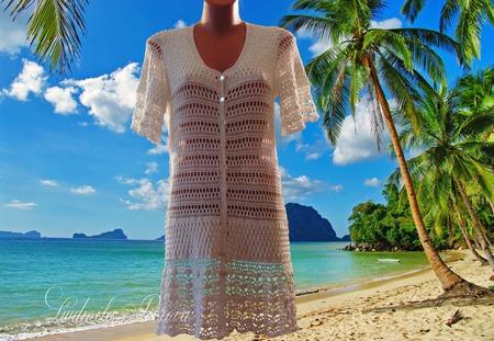Пляжный халатик вязаный ручной работы на заказ