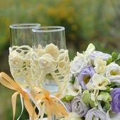 """Свадебные бокалы """"На счастье"""" обвязанные"""