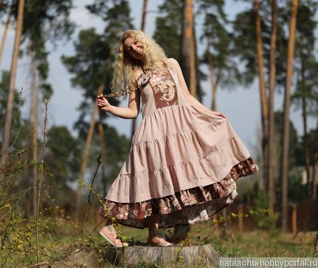 Платье хлопковое в стиле бохо ручной работы на заказ