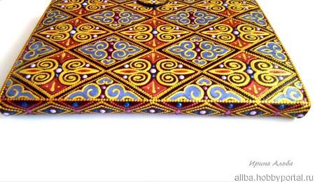 """Чехол для планшета """"Золото Дамаска"""" точечная роспись ручной работы на заказ"""