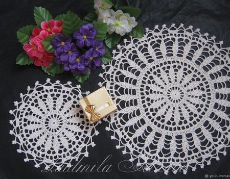 Салфетки вязаные для сервировки, декоративные ручной работы на заказ