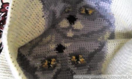 Вязаная жаккардовая подушка с кошкой ручной работы на заказ