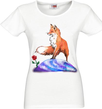 """Футболка женская с росписью  """"Маленький принц и лиса"""" ручной работы на заказ"""