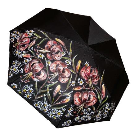 """Зонт с росписью """"Тигровые лилии"""" ручной работы на заказ"""