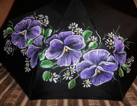 """Зонт с росписью """"Анютины глазки"""" ручной работы на заказ"""