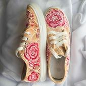 """Кеды женские 3D с ручной росписью """"Сахарные розы"""""""