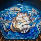 """Зонт с рисунком на заказ """"Петербургские коты на крыше"""""""