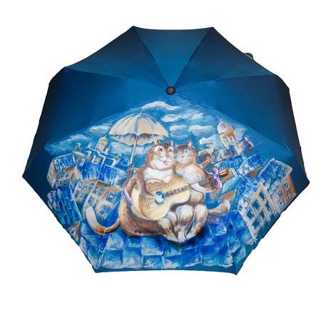 """Зонт с рисунком на заказ """"Петербургские коты на крыше"""" ручной работы на заказ"""