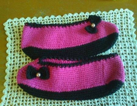 Тапочки вязаные розовые ручной работы на заказ