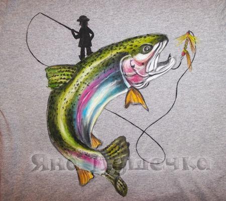 Футболка мужская в подарок рыбаку с рыбой ручной работы на заказ