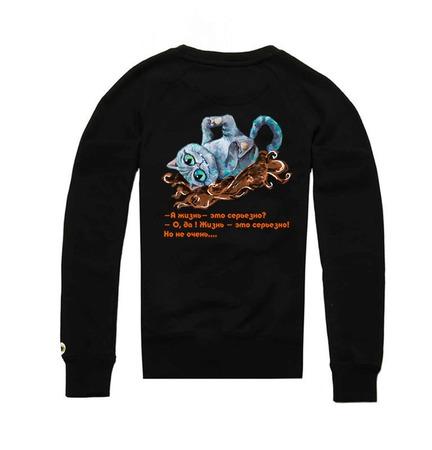 """Толстовка с рисунком """"Чеширский кот"""" ручной работы на заказ"""