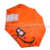 """Зонт женский с рисунком """"Коты и тюльпаны"""""""