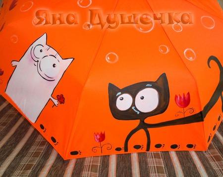 """Зонт женский с рисунком """"Коты и тюльпаны"""" ручной работы на заказ"""
