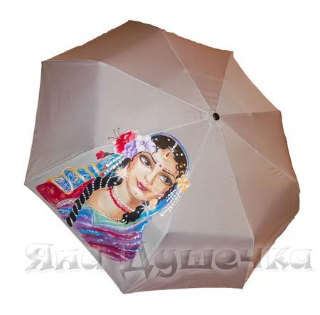 """Зонт женский с рисунком на заказ """"Богиня Радхарани"""" ручной работы на заказ"""