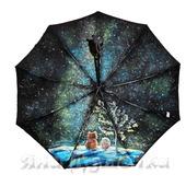 """Зонт с росписью """"Ежик в тумане,  медвежонок и Вселенная"""""""