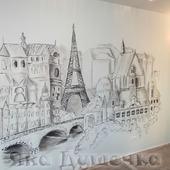"""Роспись стен в гостиной """"Париж"""""""