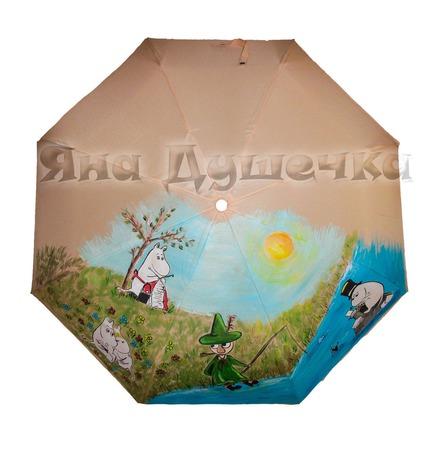 """Зонт с росписью """"Мумики"""" ручной работы на заказ"""