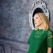 Платье зеленое ажурное вязаное летнее с круглой кокеткой