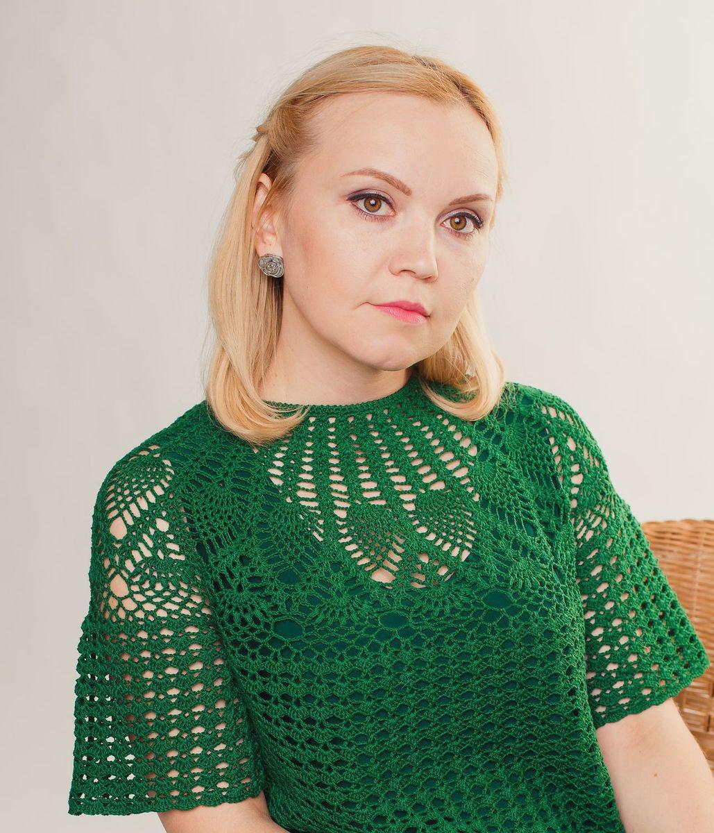 f6036f7121a Платье зеленое ажурное вязаное летнее с круглой кокеткой ручной работы на  заказ